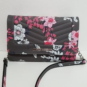Steve Madden grey and pink floral crossbody purse